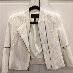 BCBG cotton and leather jacket